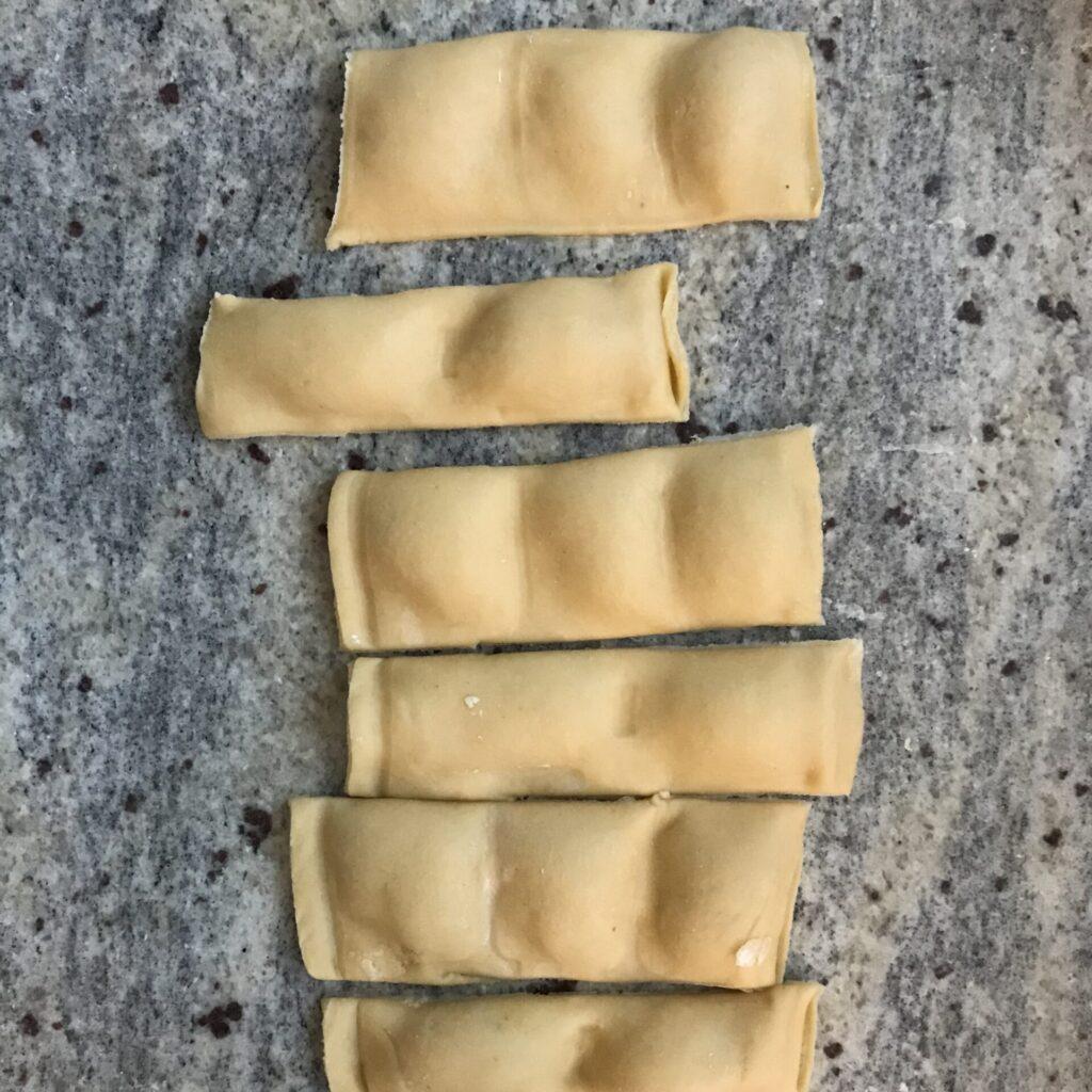 Ravioli geschnitten